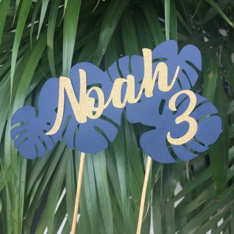Safari og hawaii kagetopper med navn og alder