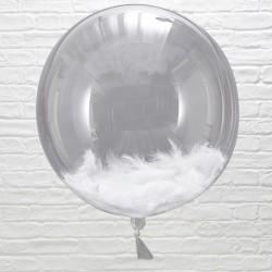 Orb balloner med hvide fjer fra GingerRay