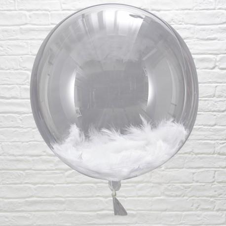 Orb balloner med hvide fjer