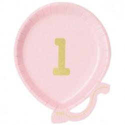 Lyserød første fødselsdagsballon tallerken