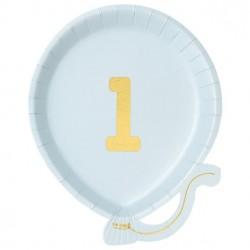 Lyseblå første fødselsdagsballon tallerken