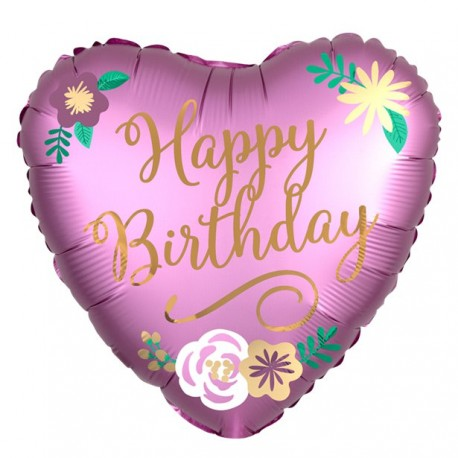 Lyserød Happy Birthday Hjerte Folie Ballon
