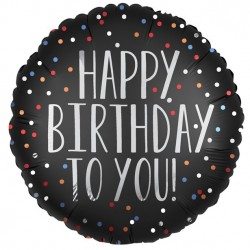 Sort Rund Happy Birthday ballon med konfetti print