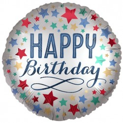 Sølv rund Folie Ballon med Happy Birthday og farvede Stjerner
