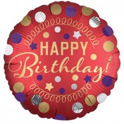 Rød Rund Folie Ballon med Happy Birthday og Farvede Prikker