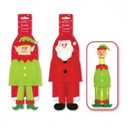 Julemandens hjælper den søde lille Elf som vinindpakning