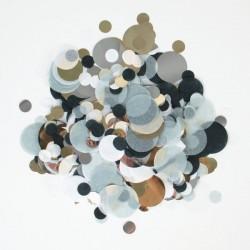 Silkekonfetti i sort, sølv og hvid