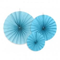 3 Blå rosetter med tynde hvide striber og prikker