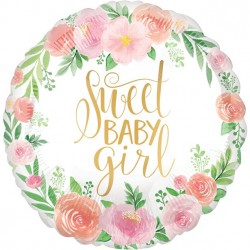 Sweet Baby Girl Blomster Folieballon