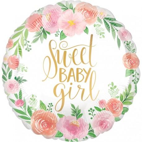 Sweet Baby Girl Blomster Folieballon