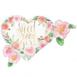 Hjerte Sweet Baby Girl Blomster Folieballon
