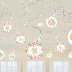 Smuk blomstret loft dekoration til babyshower