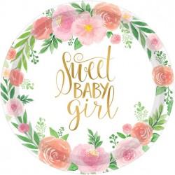"""""""Sweet Baby Girl"""" paptallerkner til babyshower"""