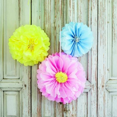 Pastel blomster pompom fra engelske Talking Tables