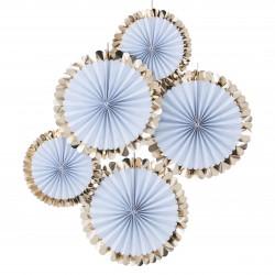 Smukke blåstribede vifter med flot guld detalje