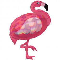 Pink Flamingo Iridescent Supershape Ballon