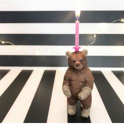 Stående Bjørnelysholder som caketopper til fødselsdagskage