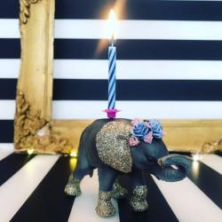 Blomsterkrone Elefant kalv lysholder som caketopper til fødselsdagskage