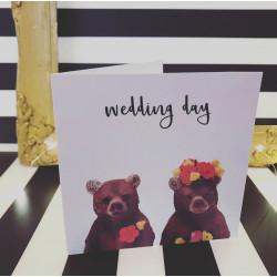 Bjørne Bryllupspar motiv på kort