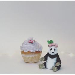 Blomster Panda caketopper