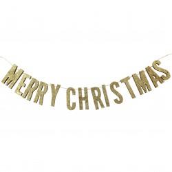 Guld glimmer Merry Christmas Guirlande fra Gingerray