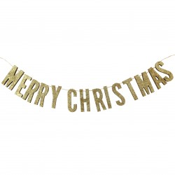 Guld glimmer Merry Christmas Guirlande