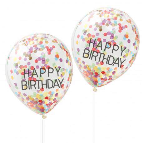 Happy Birthday Regnbue Konfetti Ballon