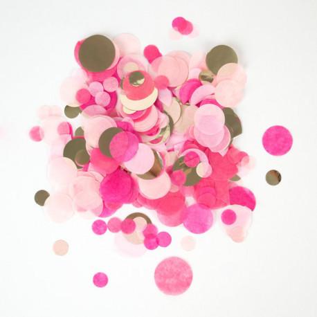 Pink og lyserød silkepapirskonfetti med guld folie fra My Little Day
