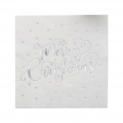 Merry Christmas Servietter med Sølv Stjerne