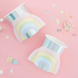 Perlemorsølv papkrus med Pastel regnbue