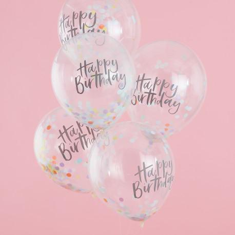 Happy Birthday Pastelregnbue Konfetti Ballon