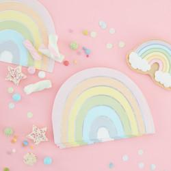 Pastel og perlemorssølv regnbue servietter fra Gingerray
