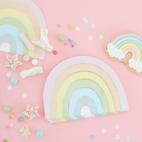 Pastel og perlemorssølv regnbue servietter