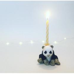 Baby Panda caketopper og lysholder som caketopper til fødselsdagskage