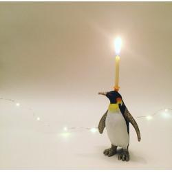 Konge Pingvin caketopper og lysholder til fødselsdagskage