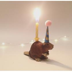 Bæver lysholder og caketopper til fødselsdagskage