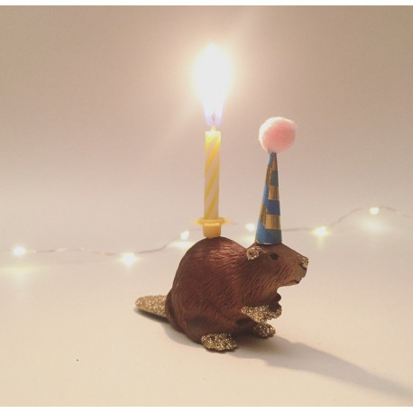 Bæver lysholder og kage topper til fødselsdagskage