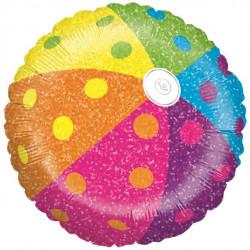 Badebold folieballon i flotte farver og med masser af glimmer