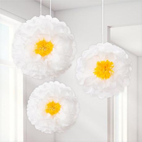 Hvide blomster pompom fra engelske Talking Tables