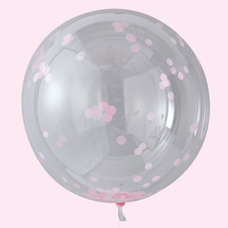 Store lyserød konfetti orb balloner fra GingerRay