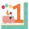 Festlige Bondegårdsservietter til første fødselsdagsfest