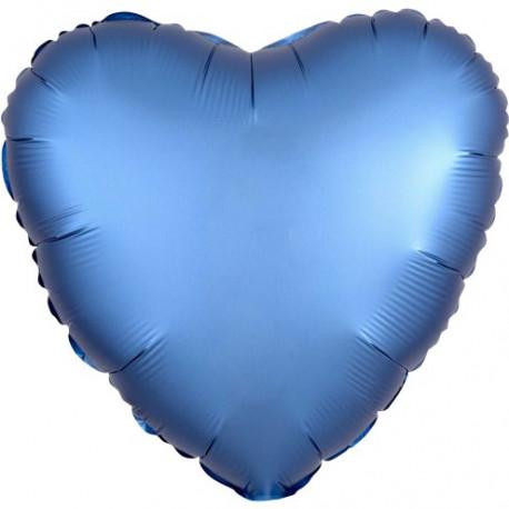 Blå Chrome Hjerte Folie Ballon