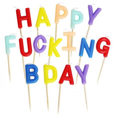 Happy Fucking Bday fødselsdagslys