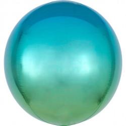 Ombre blå og grøn orbz ballon