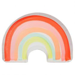 Regnbue paptallerkner fra Meri Meri