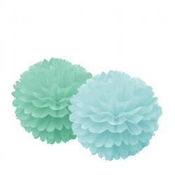 Lyseblå og grøn pom pom'er