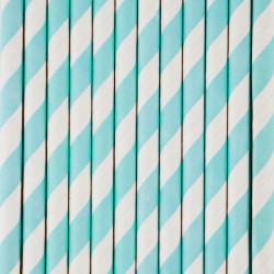 25 blå og hvid stribede sugerør fra My Little Day