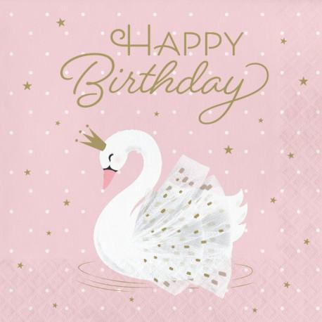 """Lyserøde servietter med svane og """"Happy Birthday"""""""
