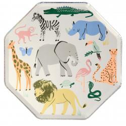 Safari Zoo tallerkner dyr fra Meri Meri