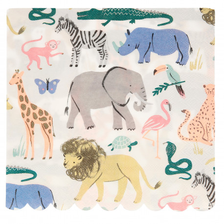 Safari Zoo Servietter fra Meri Meri